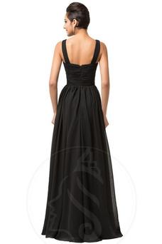 Vestido de noche Gasa Corte-A Drapeado Escote Cuadrado Capa de encaje