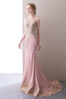 Vestido de noche Corte Sirena Sin mangas Escote en V largo primavera