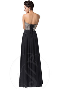Vestido de noche Gasa Natural Abalorio Falta Escote con abertura Corte-A