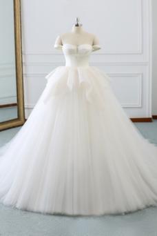 Vestido de novia Otoño Corte-A Sin mangas Drapeado Natural Capa Multi
