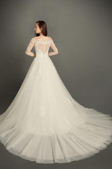 Vestido de novia Verano Cremallera Encaje Natural Sala Mangas Illusion