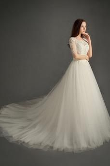 Vestido de novia Capa de encaje Sala Cremallera tul Mangas Illusion
