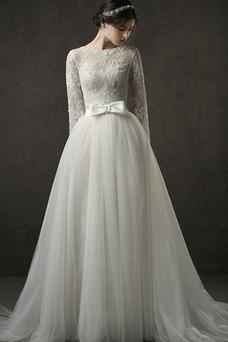 Vestido de novia Corte-A Mangas Illusion Encaje Capa de encaje Pera