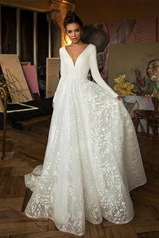 Vestido de novia Manga larga Iglesia Elegante Camiseta Verano Espalda Descubierta