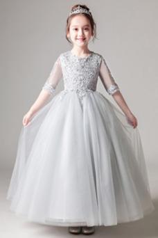 Vestido niña ceremonia primavera Falta Formal Hasta el Tobillo Cremallera