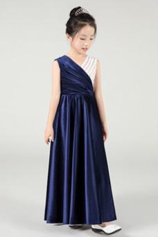 Vestido niña ceremonia Sin mangas Otoño Natural Hasta el Tobillo Elegante