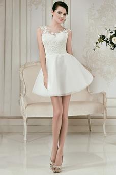 Vestido de novia Corte-A Apliques Sin mangas tul Fuera de casa Verano