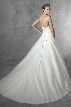 Vestido de novia Invierno Sala Cristal Corte-A Sin mangas Con velo