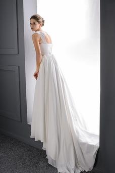 Vestido de novia Playa Corte-A Perlas Formal Espalda medio descubierto