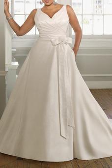Vestido de novia largo Otoño Lazos Satén Natural Corte-A