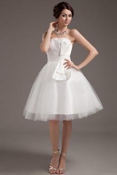 Vestido de novia Sin tirantes Hasta la Rodilla Verano Corte-A Satén