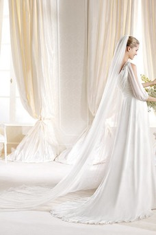 Vestido de novia Gasa Volantes Adorno Fuera de casa Un sólo hombro Manga corta