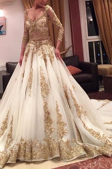 Vestido de novia Natural Espalda medio descubierto largo Espectaculares