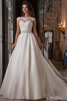 Vestido de novia Apliques Natural Moderno Cinturón de cuentas Invierno