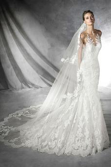 Vestido de novia Sala Con velo Barco Encaje Natural largo ... 8a84b5a3cf0e