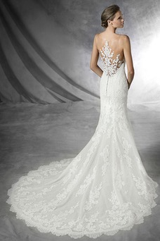 Vestido de novia Sala Con velo Barco Encaje Natural largo
