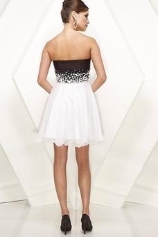 Vestido de graduacion Sin mangas Corto Blusa plisada Blanco Natural Plisado