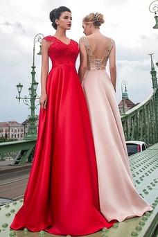 Vestido de fiesta Encaje primavera Corte-A Natural Espalda Descubierta