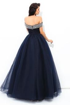 Vestido de fiesta Elegante Triángulo Invertido Cremallera Corte-A Escote con Hombros caídos