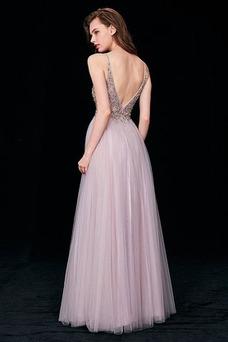 Vestido de noche Elegante tul Hasta el suelo Corte-A Corpiño Acentuado con Perla