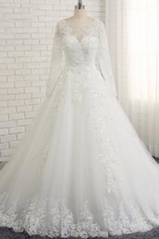 Vestido de novia Cordón Capa de encaje Apliques Natural Mangas Illusion