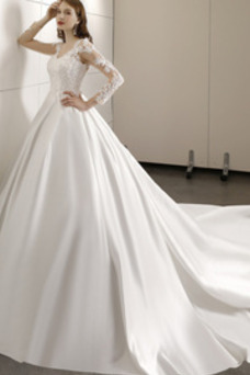 Vestido de novia Elegante largo Corte-A Mangas Illusion Natural Escote en V