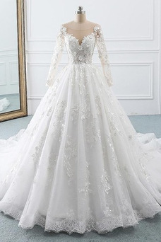 Vestido de novia Manga larga Corte-A Sala Pura espalda Cola Corte Otoño