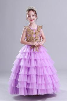 Vestido niña ceremonia Capa Multi Cordón Otoño Joya tul Natural