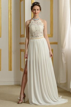Vestido de novia sexy Fuera de casa Natural Escote con cuello Alto Espalda Descubierta
