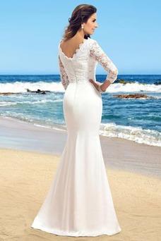 Vestido de novia Sencillo Encaje Cremallera Falta Capa de encaje Corte Recto