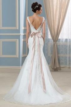 Vestido de novia Corte Recto Satén Arco Acentuado Cristal Espalda Descubierta