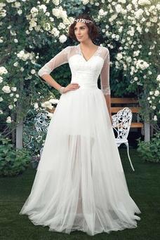 Vestido de novia Natural La mitad de manga Reloj de Arena Corte-A tul