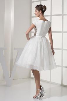 Vestido de novia Playa Hasta la Rodilla Volantes Adorno Corte princesa