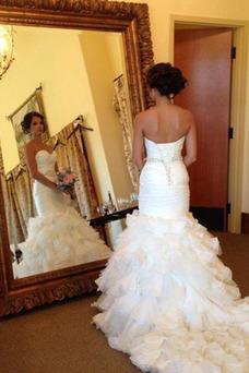 Vestido de novia Elegante Corpiño Acentuado con Perla Natural Escote Corazón