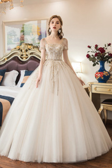 Vestido de novia Otoño Corpiño Acentuado con Perla tul Cordón Mangas Illusion