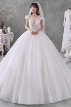 Vestido de novia Capa Multi Manga tapada Manga corta Rosetón Acentuado