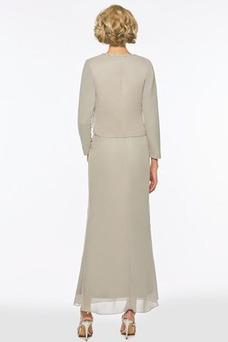 Vestido de madrina Corte Recto Gasa Formal Cremallera Tiras anchas Natural