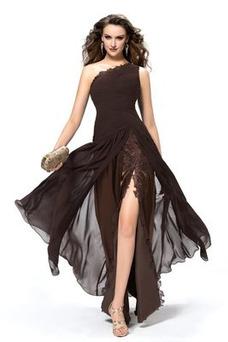 Vestido de noche Frontal Dividida Un sólo hombro Natural Falta Moderno
