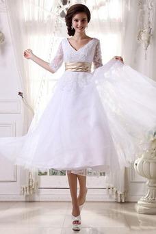 Vestido de novia Fuera de casa La mitad de manga Cremallera tul Natural