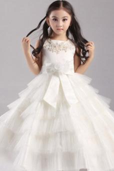 Vestido niña ceremonia Falta Arco Acentuado tul Sin mangas Natural Hinchado