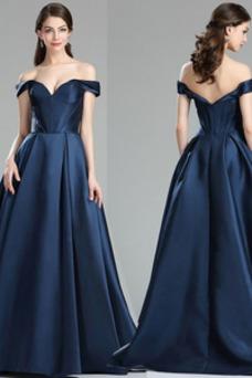 Vestido de fiesta Escote con Hombros caídos Tallas pequeñas Blusa plisada