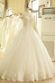Vestido de novia Escote redondo Falta Mangas Illusion Hasta el suelo