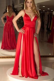 Vestido de fiesta Natural Apertura Frontal Escote en V Satén Elástico