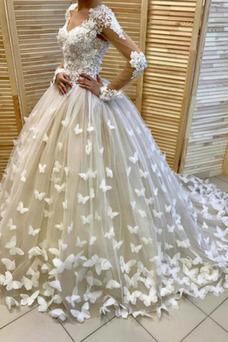 Vestido de novia Corte-A Sala tul Cola Barriba primavera Mangas Illusion