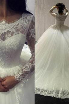 Vestido de novia primavera Corte-A Falta Joya Cordón Capa de encaje