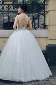 Vestido de novia Playa Corte-A Joya Falta Otoño Encaje