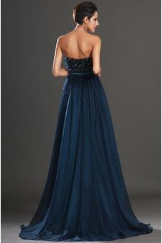 Vestido de noche Gasa Sin tirantes Imperio Cremallera Apliques Azul Marino