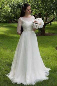 Vestido de novia Corte-A Triángulo Invertido Cremallera Cola Barriba