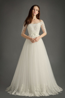 Vestido de novia primavera Iglesia Manga corta Lazos Camiseta Corte-A