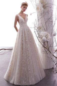 Vestido de novia Hasta el suelo Corte-A Espalda Descubierta Iglesia